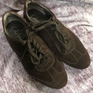Cole Haan brown suede lace up loafers size 7B